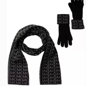 NWT | Michael Kors scarf, hat and glove set
